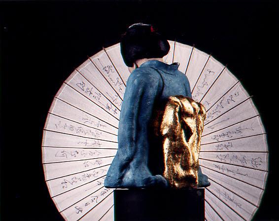 olieverf met goud-doublé op obi,. 74 cm, 1991